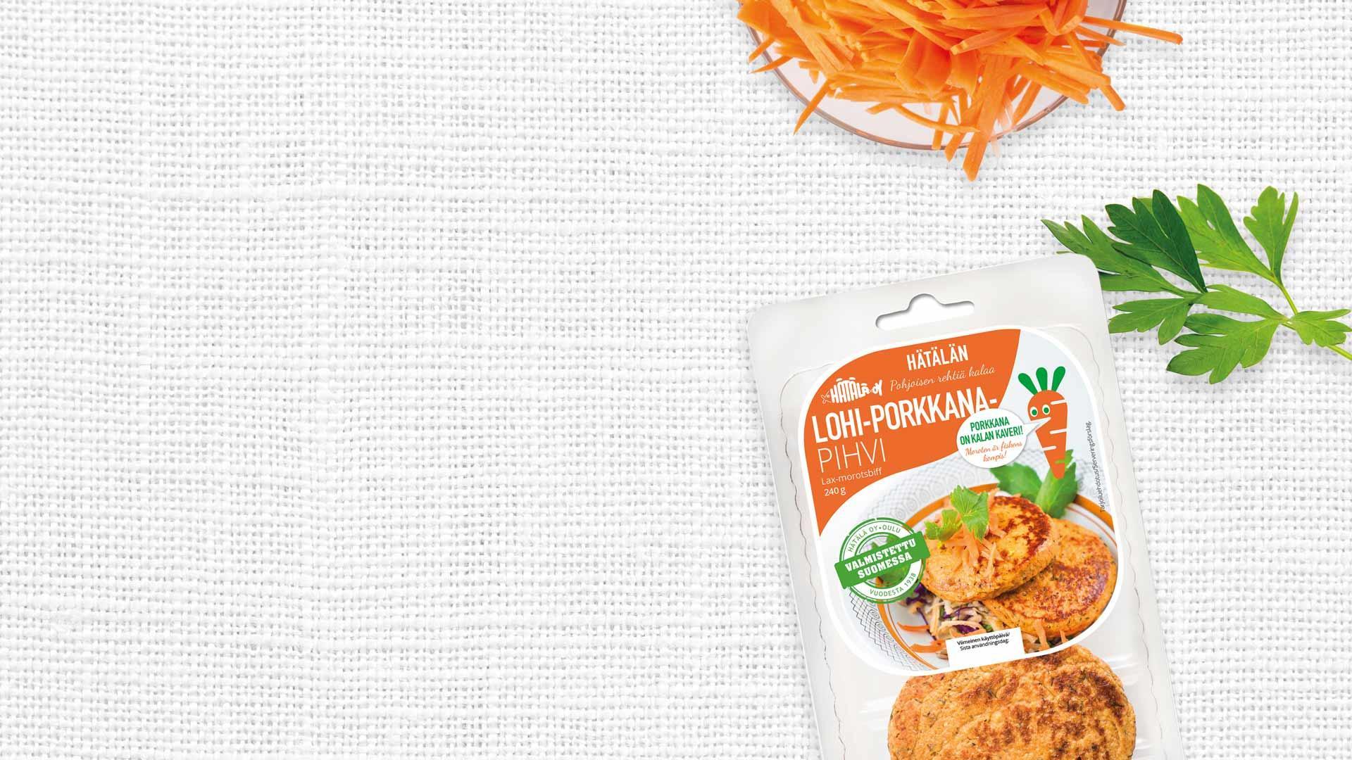 Lohi-porkkanapihvi rasiapakkaus   Kalatuotteet   Hätälä
