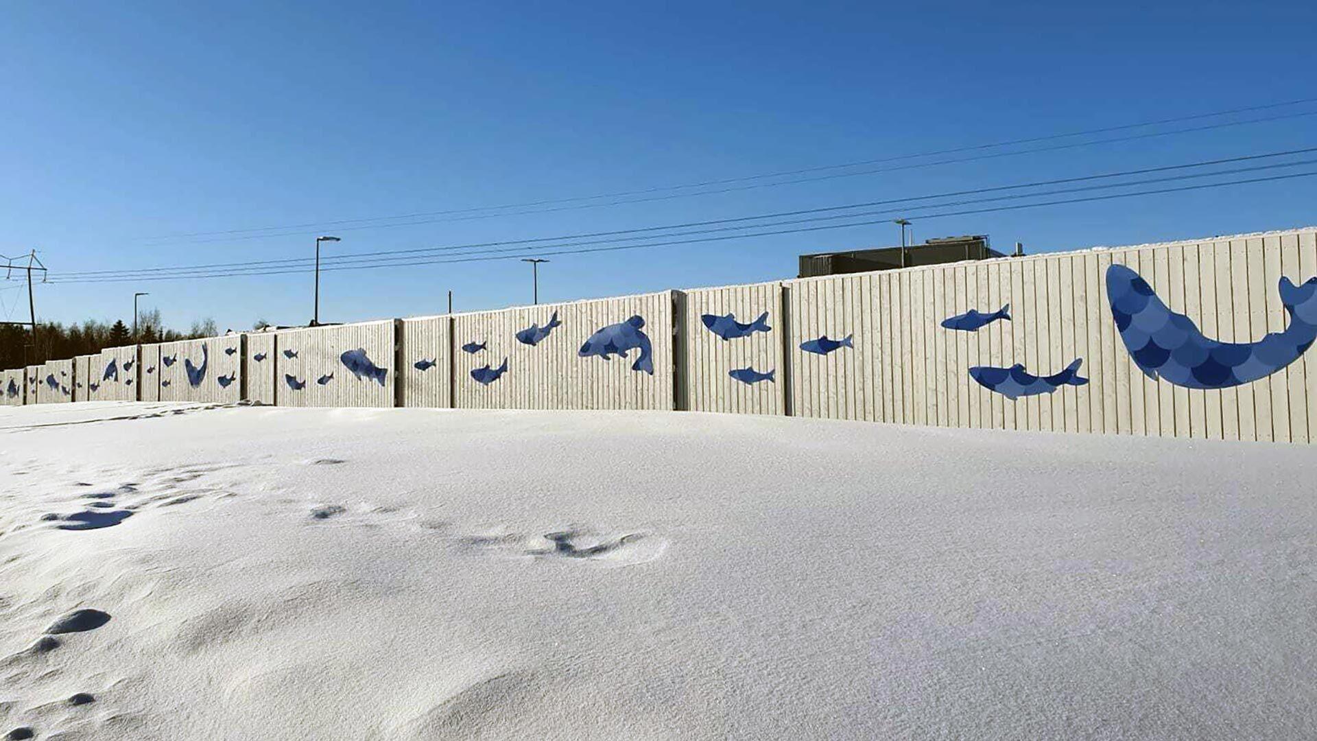 Hätälän tehtaan kalataideaita Oulun Kaakkurissa